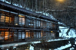 雪景色と建物