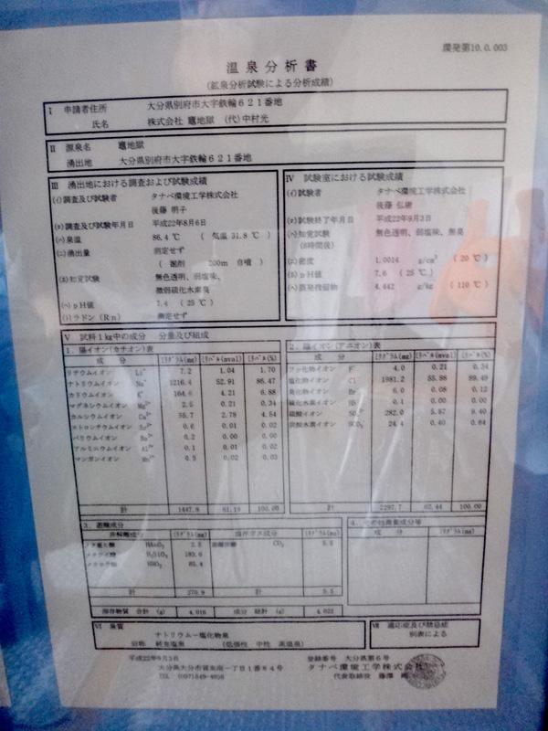 鉄輪温泉 かまど地獄3丁目の湯分析表