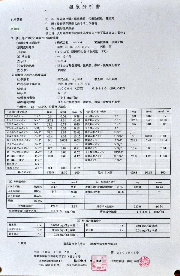 横谷峡温泉 横谷温泉旅館分析表