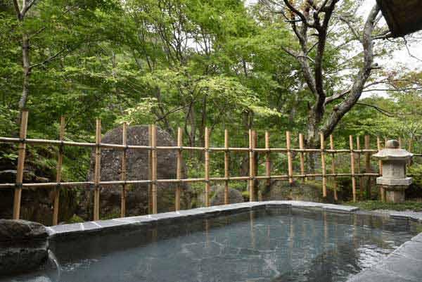 露天風呂(男性用) 源泉かけ流し pH7.8 浴槽温度43度 源泉温度46.1度