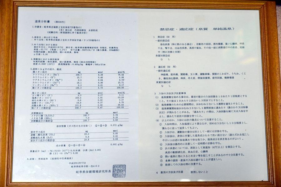 新穂高温泉 深山荘分析表