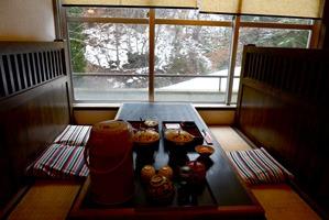 食事した席 (写真は朝)