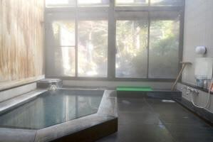 女性用内湯 源泉掛け流し pH9.0(アルカリ性) 浴槽温度:39.8度 鮮度:8時間以上で1回転