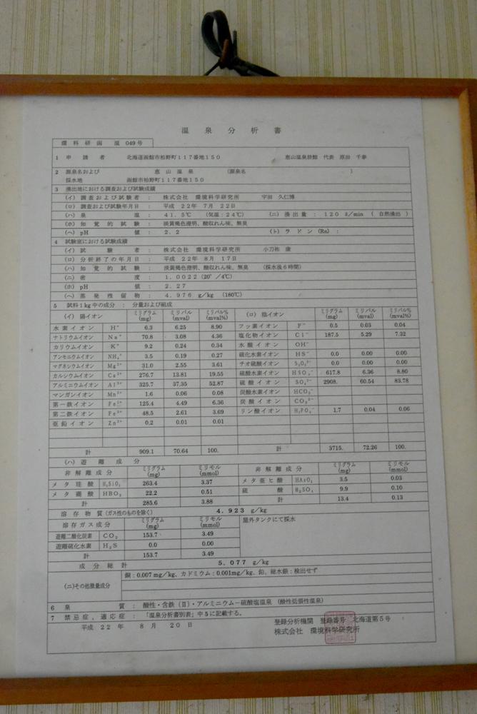 恵山温泉旅館-分析表