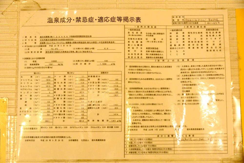 奥日光小西ホテル-分析表
