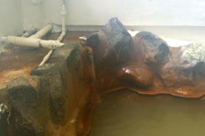 非加熱の源泉が蛇口から投入されている